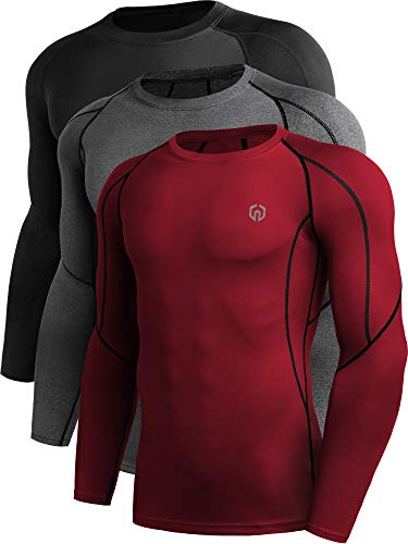 Neleus Men's 3 Pack Compression Workout Long Sleeve Shirts,5030,Black,Grey,Red,US 2XL,EU 3XL