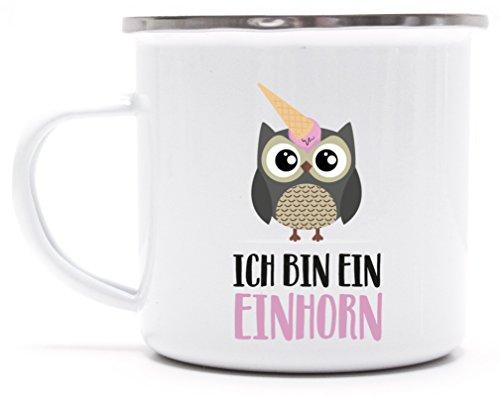 süße Geschenkidee Unicorn Eis Ice Cream bedruckte Metalltasse Emaille Camping Tasse mit Spruch Motiv Eule - Ich bin ein Einhorn, Größe: onesize,weiß/silber