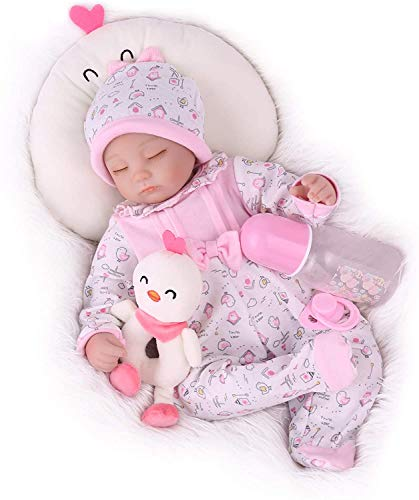 CHAREX Reborn Baby Doll, 17 Inch Sleeping Baby Doll Girl, Lifelike Cute Realistic Reborn Doll with Baby Doll Accessories for Children Age 3+
