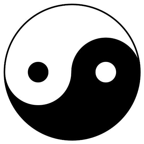 Design yin yANG sticker autocollant 10 x 10 cm (noir)