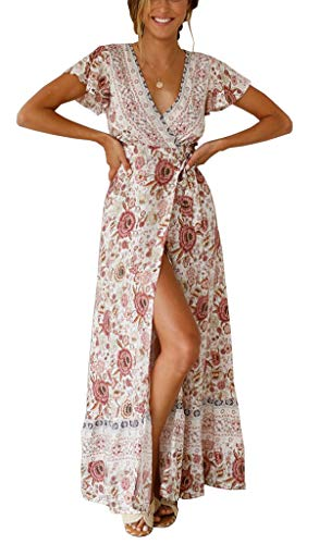 R.Vivimos Women's Summer Short Sleeve Floral Print Bohemian Beach Waist Tie Wrap Long Flowy Dress with Slit (Large, White/Pink)