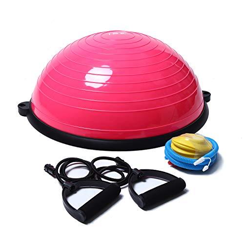 ISE Balance Trainer,Palla Fitness Palestra Ball,Semisfera da Allenamento,Diametro 58 cm, con Elastici e Pompetta, per Yoga Pilates Ginnastica e Altri Sport Blu BAS1001 Rosa