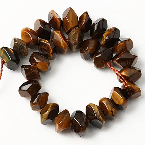 AFANGMQ Rhombus Natural Minerals Gema Rosa Opal Jades Beads Irregular Perlas Sueltas para la fabricación de Joyas DIY Perles Charms Bracelets 7.5 '' (Color : Yellow Tiger Eye)