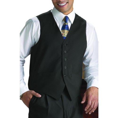 Neil Allyn 100% Polyester Solid Black Wait Staff Vest - XXX-Large