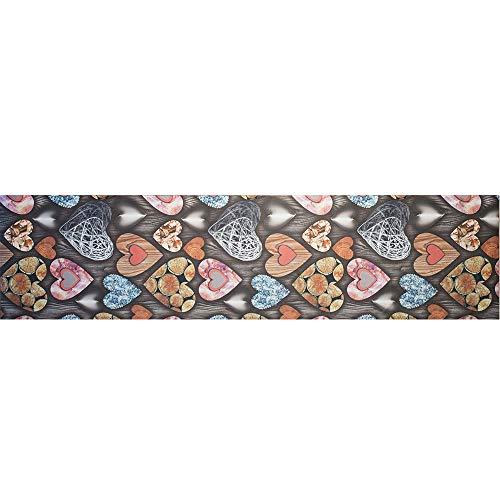 IlGruppone Tappeto passatoia Antiscivolo Lavabile Aderente Stampa Digitale Cuori di Legno - Cuori di Legno - 50x200 cm