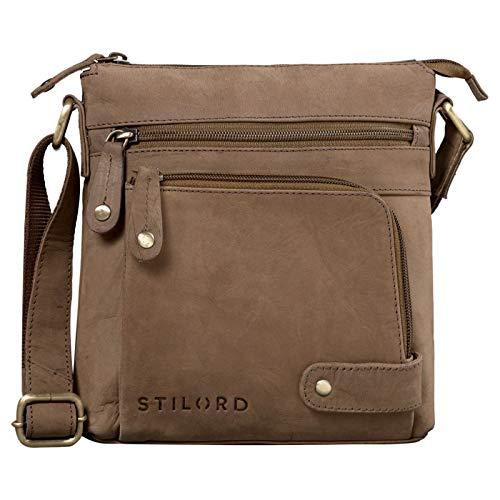STILORD 'Cameron' Kleine Leder Umhängetasche Vintage Messenger Bag Ledertasche DIN A5 8,4 Zoll Tablettasche Handtasche Cross Body Bag Retro Ledertasche, Farbe:Austin - braun