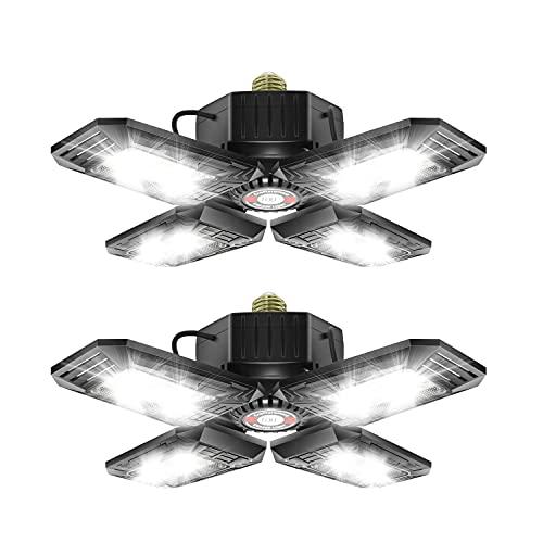 2 - Pack LED Garage Lights 80W - 6000K Garage Lights Ceiling LED, 12000LM Deformable LED Garage Lighting Fixture, Shop Lights for Garage, Basement, Barn, High Bay Light
