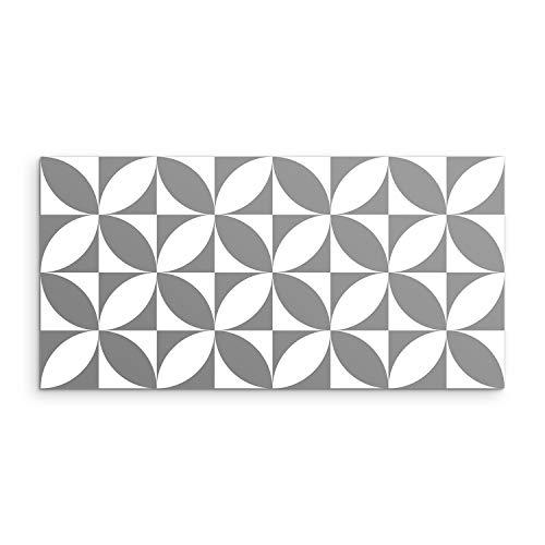 DON LETRA Alfombra Vinílica Geométrica, Gris, 80 x 40 cm, Antideslizante y Lavable, Alfombra de Vinilo para Salón, Dormitorio, Cocina, Baño y Pasillo, Grosor de 2 mm, ALV-104