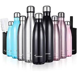 41zyE5hytuL. SS300  - Sportneer Botella de Agua, Botella Doble Pared Aislada al Vacío de Acero Inoxidable, Botella de Agua, BONOS Cepillo de Limpieza y Funda de Botella