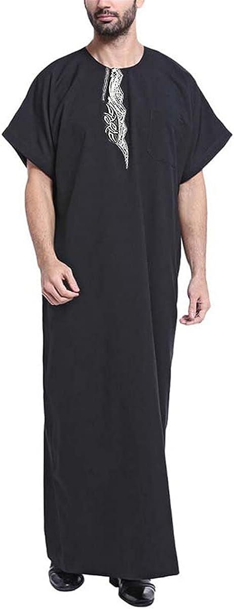 Muslim clothing Kaftan men's Abaya print short-sleeved retro robe Dubai Saudi Arabia Arab Islamic Jubba Thobe
