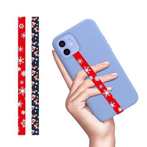 Phone Grip 2Pcs Phone Strap with Xmas Hat Tree Snow Pattern Universal Reusable Silicone Stretching Strap Phone Finger Holder Compaitable with Most Smartphone Phone Case (Xmas Hat/Glove+Xmas Snow)