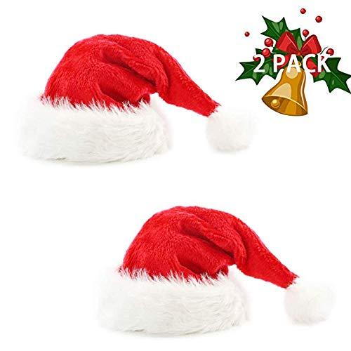 GuassLee 2pcs Weihnachtsmütze Samt Weihnachtsmütze für Unisex Erwachsene mit Plüschkrempe und Comfort Liner für Weihnachten Neujahr Partydekorationen und Zubehör Rot