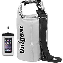 Unigear Dry Bag, Wasserdicht Taschen mit Handytasche und Gurte für Boot und Kajak, Angeln, Rafting, Schwimmen, Camping und Snowboarden, MEHRWEG 10L Weiß