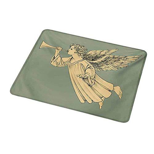 Rutschfeste Rechteck Mousepad Weihnachten, fliegender Weihnachtsengel mit Flügeln spielen Trompete Mythologische antike Kunstwerke, gelbe Minze für Kinder
