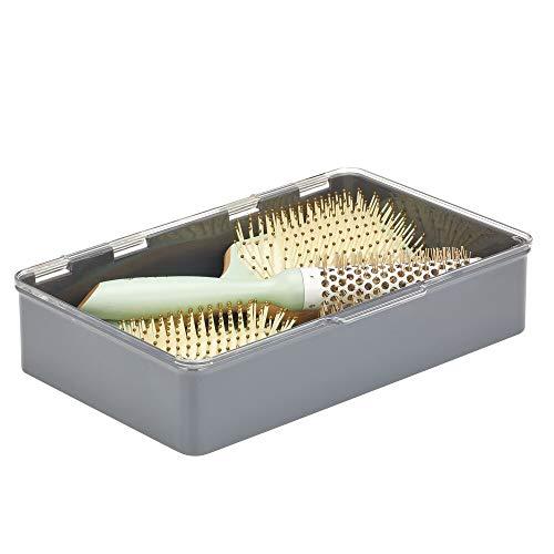 mDesign Caja con Tapa para la Cocina, la despensa o el despacho – Cajones de plástico sin BPA apilables – Cajas de ordenación compactas para artículos del hogar – Gris Pizarra y Transparente