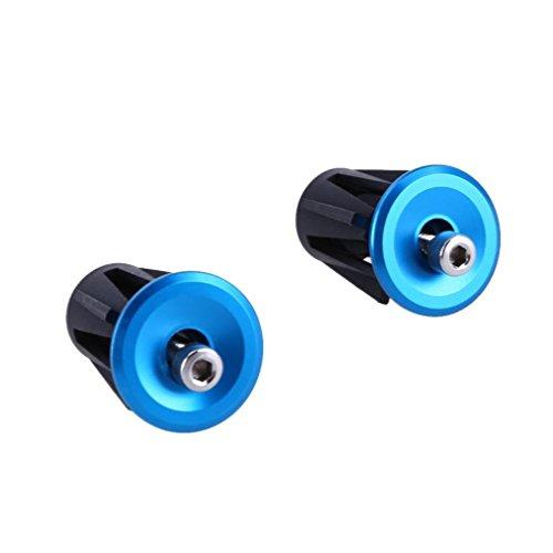 HCFKJ Ein Paar Aluminium Fahrrad Radfahren Lenkergriffe Griff Bar Cap End Plug (One Size, Blau)
