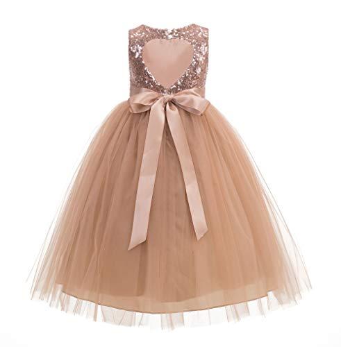 ekidsbridal Heart Cutout Sequin Junior Flower Girl Dress Christening Dresses 172seq 8 Rose Gold