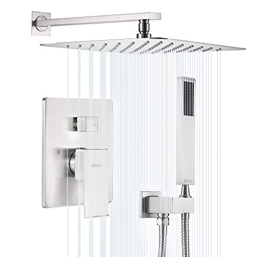 ESNBIA Shower System, Brushed Nickel Shower Faucet Set with Valve and 12' Rain Shower Head Systems Wall Mounted Shower Combo Set for Bathroom All Metal