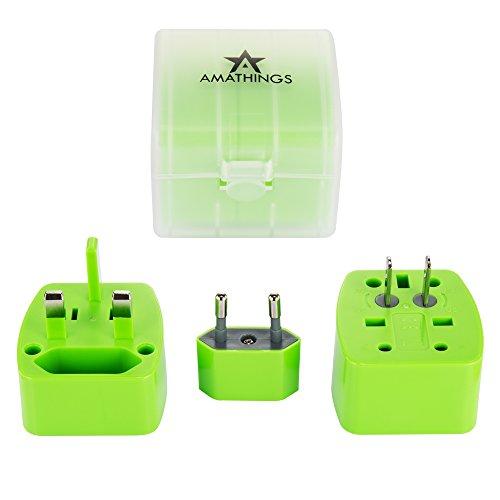 AMATHINGS Kompakter Reisestecker Adapterstecker in Grün mit Schutz-Case für 150 Länder 6A Max