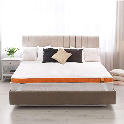 Maxzzz Topper de espuma viscoelástica de 5 cm, para cama de matrimonio de alta densidad con Lones de cobre, hipoalergénico, suave, con funda extraíble y lavable, tamaño completo