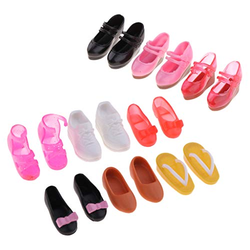 menolana 9 Pair Fashion Plastic Single Shoes for Blythe Licca for Dollfie DOD 1/6