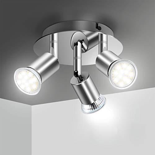 Lámpara de Techo LED Focos, Plafón con Focos GU10 3 Luces para Ángulo Ajustable y Giratorio para Interior 110V-220V Focos de Techo Orientables para Dormitorio Cocina Baño(Sin bombillas)