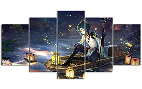 YLAXX Genshin Impact Xiao póster Impreso 5 Paneles Arte de Pared Lienzo de Desplazamiento Fondo de Sala de Estar Pintura de Arte de Pared 150x80 cm Pintura sin Marco