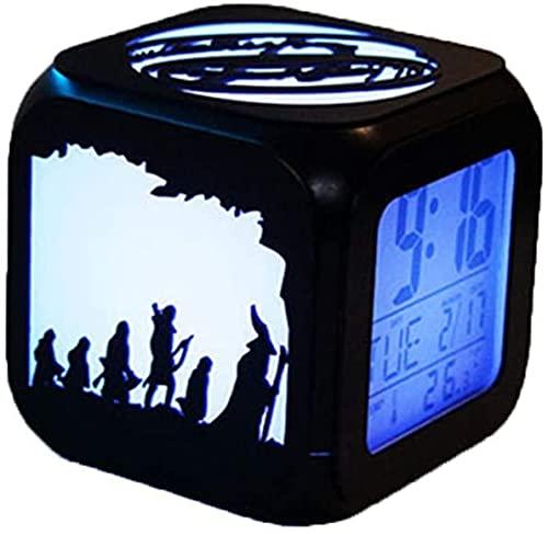 Clock Despertadors Anillo mágico Rey Reloj Despertador 3D Estéreo Silencio DIRIGIÓ Night Light Electronic Juego Derecho USB Cargadura LSJZXW