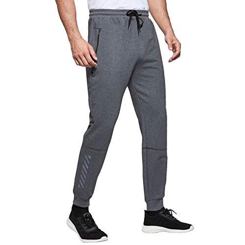 JustSun Jogginghose Herren Trainingshose Sporthose Herren Lang Baumwolle Fitness Hosen Jogger Herren Reissverschluss Taschen Grau S