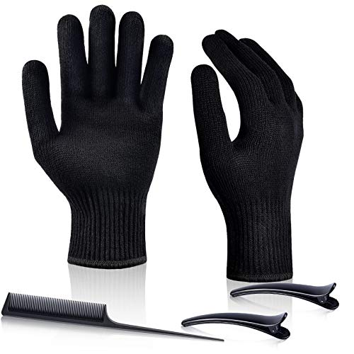 IKOCO 2PCS Heat Resistant Gloves Heat Proof Glove Mitts for Hair Styling Curling Iron Flat Iron and Curling Wand Hot-Air Brushes,Universal Fit Size