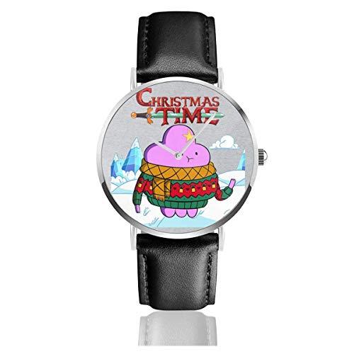 Adventure Christmas Time Lumpy Space Princess Ice World Cartoon Network Orologi Orologio in pelle al quarzo con cinturino in pelle nera