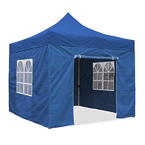 JOM Tente de réception Pro Pliante 3 x 3 m, Toile Oxford 420D, Enduit PVC coté intérieur, 4X parois laterales, 3 fenêtres, paroi accès à Fermeture éclair - polyéthylène: PE 230g/m², imperméable, Bleu