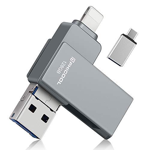 USB Stick 128GB USB 3.0 Externer Speicher,PHICOOL Speichererweiterung für iPhone iPad,OTG Android und USB C Android Samsung/Huawei/XIAO MI/ONEPLUS,PC MAC Computer Laptop - Grey