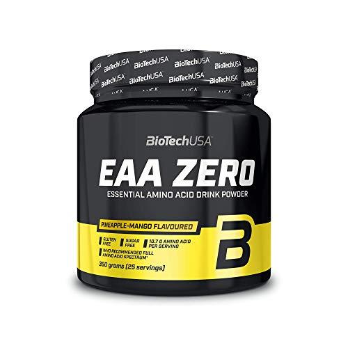BioTechUSA EAA Zero Suplemento dietético con sabor, bebida en polvo con aminoácidos esenciales, L-glutamina y edulcorantes, 350 g, Piña-Mango