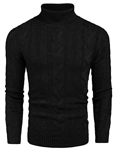 COOFANDY Men's Slim Fit Turtleneck Sweater Casual Ribbed Knitted Pullover Sweaters Black