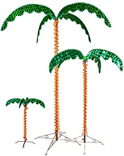 Deluxe Tropical LED Rope Light Palm Tree with Lighted Holographic Trunk and Fronds (7.0 Foot)