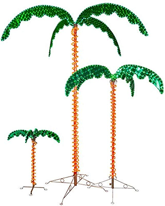 Deluxe Tropical LED Rope Light Palm Tree With Lighted Holographic Trunk And Fronds 7 0 Foot