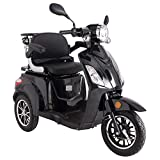 Black ZT500 Electric Mobility Scooter 3 Wheeled with Extra Accessories Package: Mobility Scooter Waterproof Cover, Phone Holder, Bottle Holder by Green Power