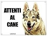 Lobo checoslovaco cuidado con el Perro Mod 2Placa cartel de metal