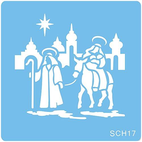 jem SCH17 Natività Stencil per Cake Design, Blu