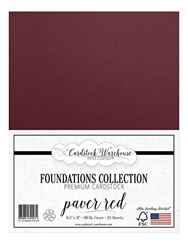 Paver Red / Wine / Burgundy Cardstock Paper - 8.5 x 11 inch PREMIUM 80 LB. COVER - 25 Sheets from Cardstock Warehouse
