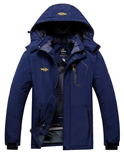 Wantdo Men's Hood Rain Jacket Warm Winter Snow Parka Blending Navy X-Large