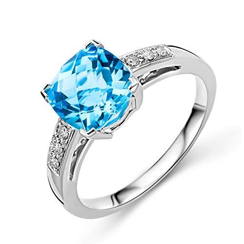 Miore, anello di fidanzamento con topazio, in oro bianco da 9carati (375), con brillanti da 0,06carati e Oro bianco, 56 (17.8), colore: gold, cod. M9128R