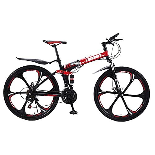 Fahrrad Stahlrahmen,Fahrrad 26 Zoll Mountainbike,24gang schaltung, vorderradgabelaufhÄngung mit verriegelungsfunktion, doppelscheibenbremsen und integrierten Anti-rutsch-Reifen -Red_24_Speed