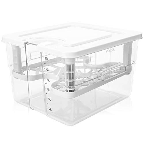 VPCOK Sous Vide Behälter, 5 in 1 Sous Vide Set mit Deckel und Rack aus Polycarbonat, 12L tief 310 mm, mehrere Marken geeignet, robust und durchsichtig(mehrweg)