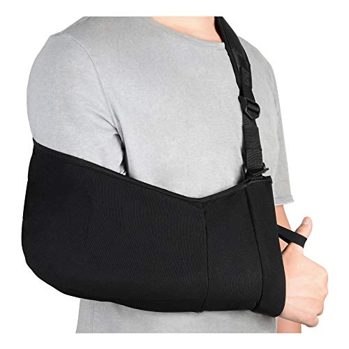 SupreGear Arm Sling, Adjustable Lightweight Comfortable Shoulder Arm Immobilizer Sling Breathable Medical Shoulder Support for Injured Arm/Hand with Inside Pockets - Black