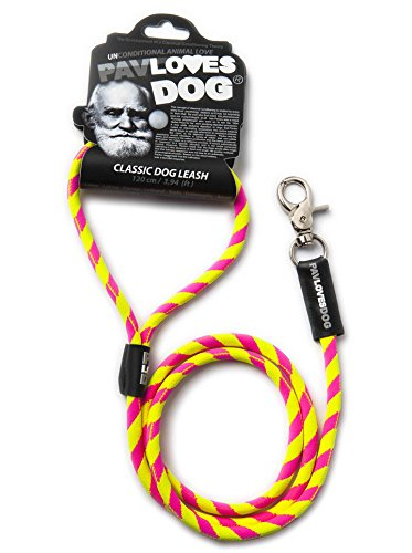 Original Lanyards® PAV Loves Dog Laisse pour chien Rose/jaune 120 cm