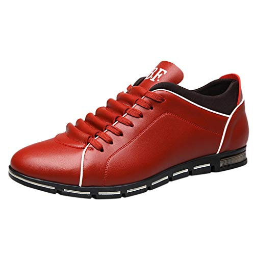 EU39-EU46 ODRD Schuhe Herrenmode aus festem Leder Business Zehe Freizeitschuhe Stiefel Stiefeletten Wanderstiefel Combat Hallenschuhe Worker Boots Laufschuhe Sports (42 EU, Rot)