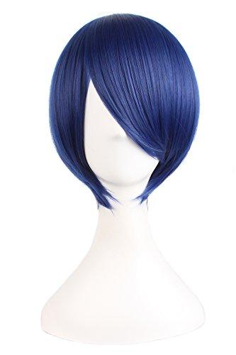 MapofBeauty 25cm/ 10 pulgada medio lacio hombre lacio Pelucas (oscuro azul)