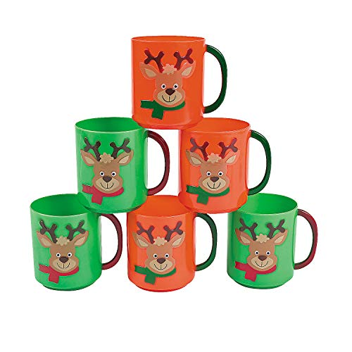 PLASTIC HOLIDAY REINDEER MUGS - Party Supplies - 12 Pieces